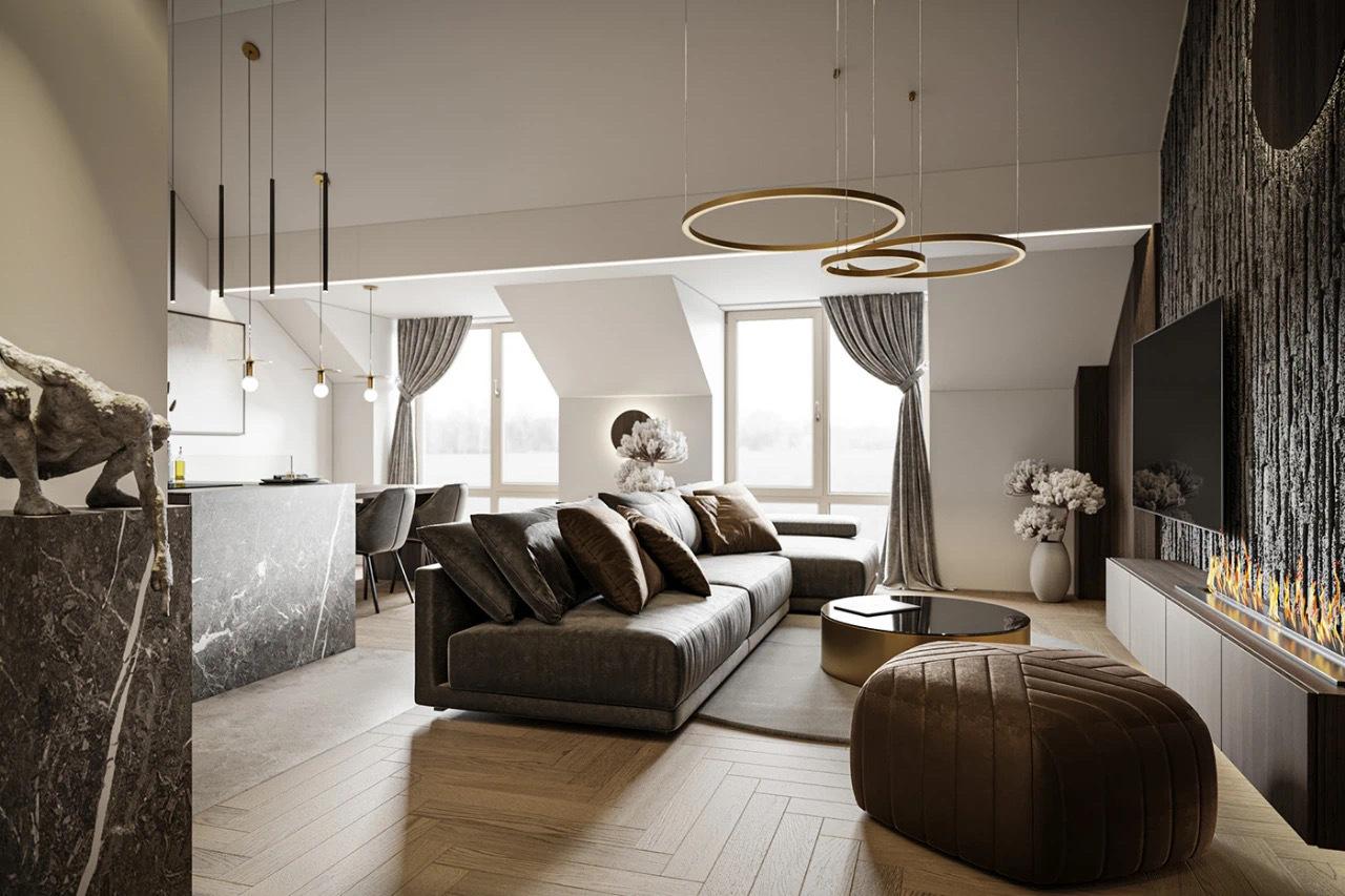 高级灰+黄铜,110㎡现代轻奢私宅汕头设计师/汕头室内设计