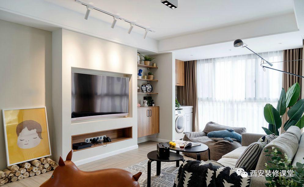150m²简约北欧四室变三室,木纹砖7字型的颜值