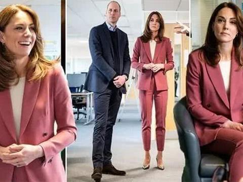 英剑桥公爵夫妇向一线医护致以慰问,凯特王妃穿千元粉色套装亮相