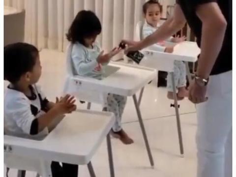 父爱如山!C罗开饭前教3宝宝用洗手液,马特奥娜娜捧场王,伊娃嫌脏