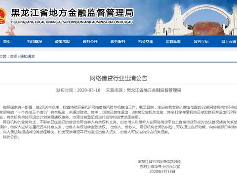 网贷加速出清!黑龙江32家P2P平台均未通过验收