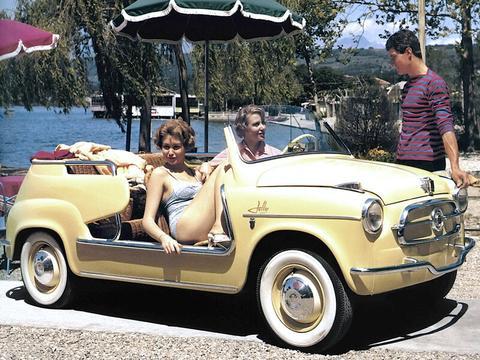 老照片 香车配美女  50年代意大利菲亚特汽车广告