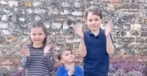凯特王妃真会教孩子!三个萌娃向医护人员送祝福