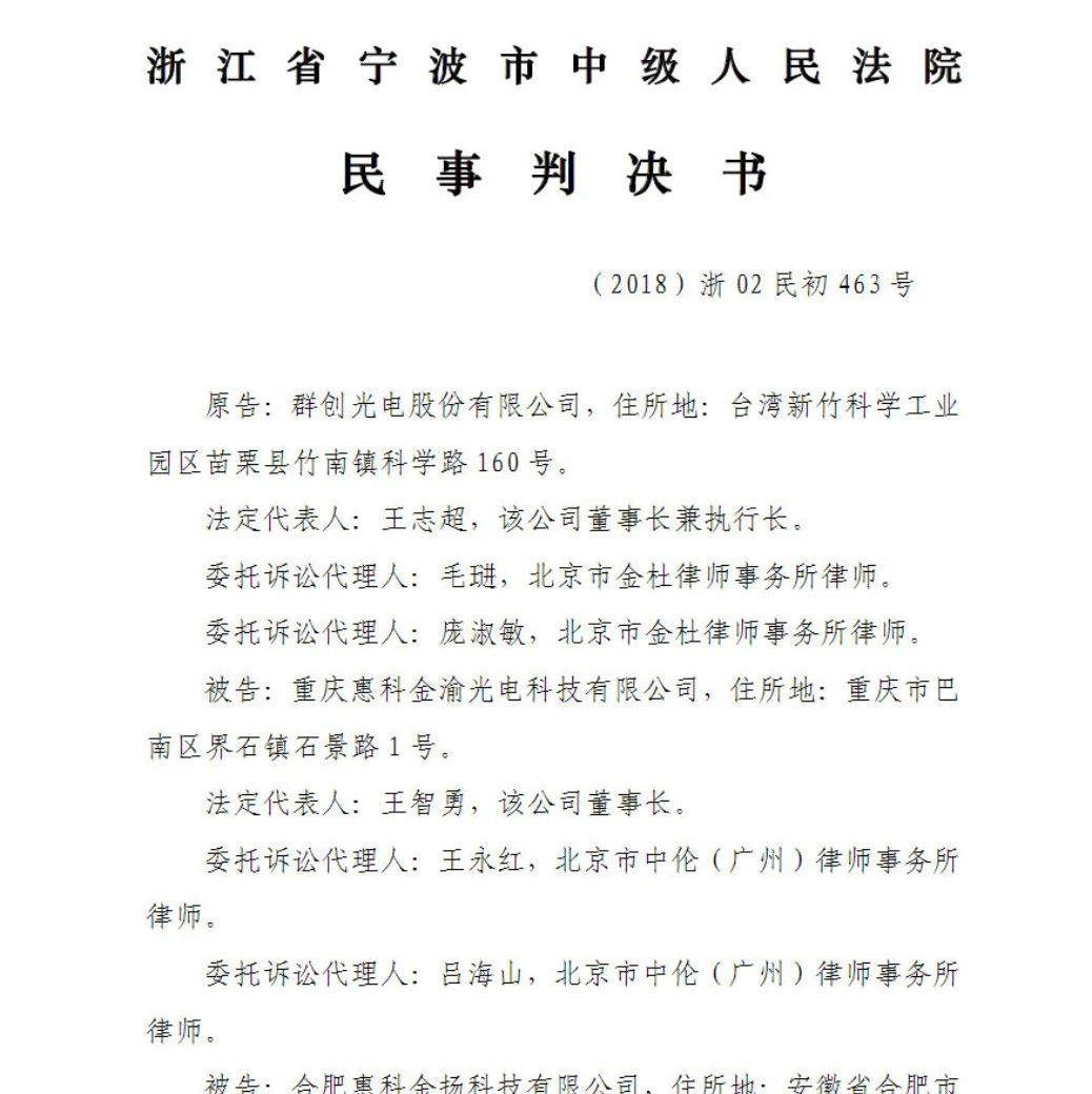 惠科17项专利侵权全胜!群创诉讼请求被驳回