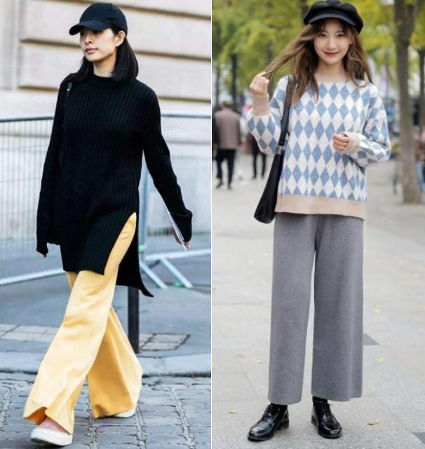冬天,女人用阔腿裤搭毛衣时,3点要明确,不然容易显胖压身高!