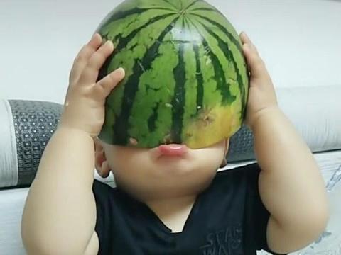 爸爸买了个大西瓜,刚一放下就不见了,回头看到宝宝,笑喷