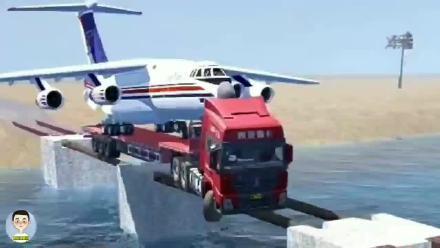 卡车搭载私人飞机过河,被困桥中央