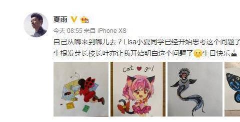 袁泉丈夫夏雨晒女儿的画,为其庆生,女儿问题引深思