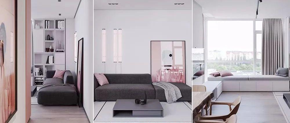 小户型·69平方粉色+高级灰简约公寓