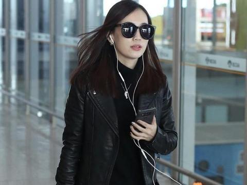 马蓉换风格穿皮衣+皮裤,气质像变成了另一个人,美得差点认不出