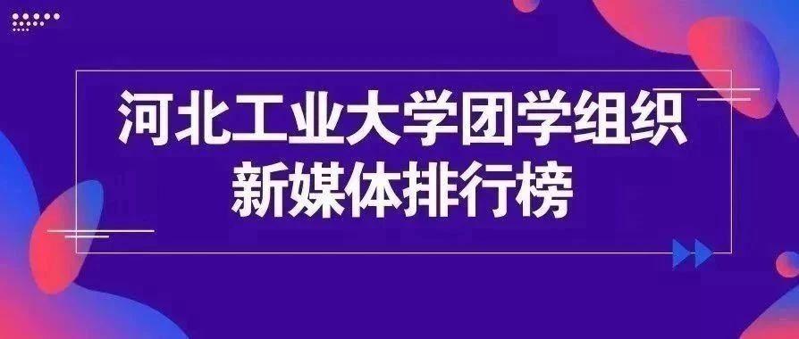 河北工业大学团学组织新媒体排行榜(3.29-4.4)
