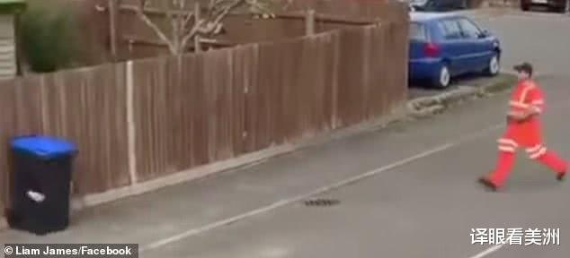 垃圾桶长腿跑掉:英国清洁工将儿子装扮成垃圾桶,放街边吓唬路人