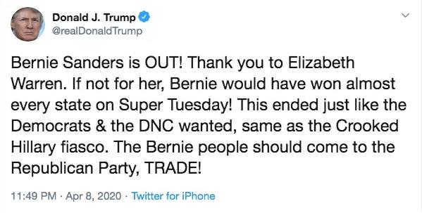 特朗普发文回应桑德斯退选。推特截图