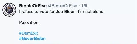 桑德斯支持者:拒绝为拜登投票,我不是一个人,传递下去。推特截图