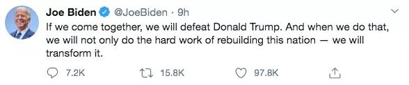 拜登:如果我们走到一起,就能打败特朗普。推特截图