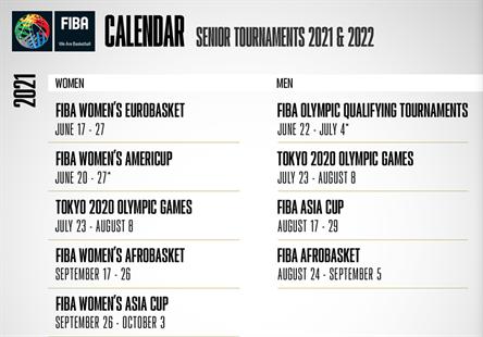 FIBA确定奥运男篮落选赛改期 2021年6-7月举行