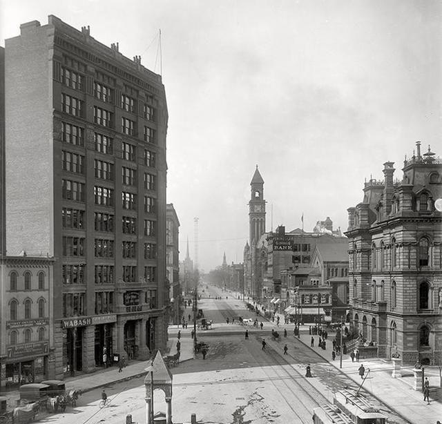 老照片;汽车出现之前的美国城市