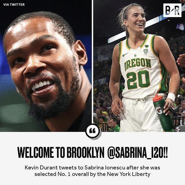 杜兰特发推:欢迎萨布丽娜-伊内斯库来到布鲁克林