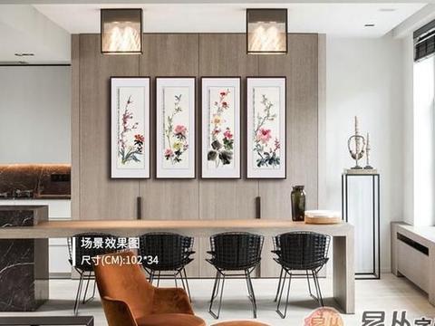 家里挂花鸟画好吗?梅兰竹菊四条屏 让家居美观上档次