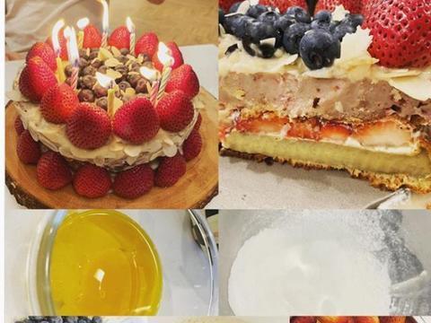 王力宏妻子李靓蕾为老公庆生,首次做夹心蛋糕心灵手巧
