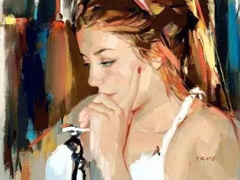 颜色鲜明、笔触大胆的女体油画作品,细腻而唯美