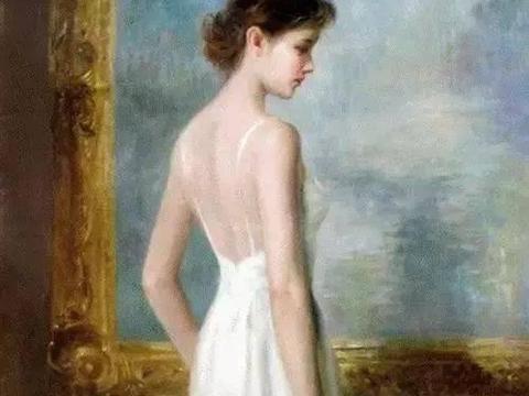 洁白的人体油画少女,太美