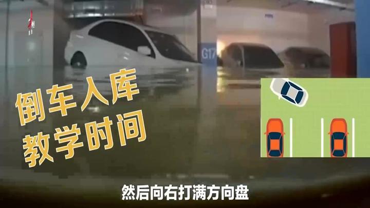 神乎其技!车库被淹洪水完美倒车入库 网友:我连洪水都不如