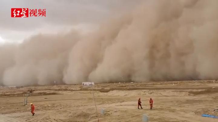 青海强沙尘暴来袭,最小能见度500米
