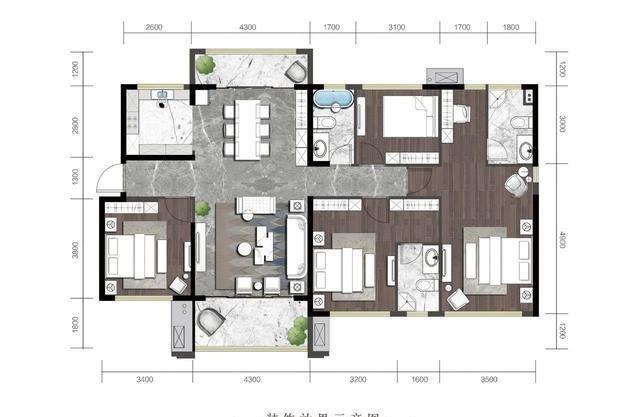 汇银·江南富湾建面约139㎡四房户型|三代同堂,六口之家
