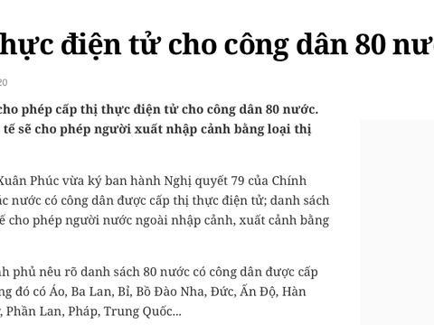 越南将向80国公民发电子签证:包括持中国护照公民