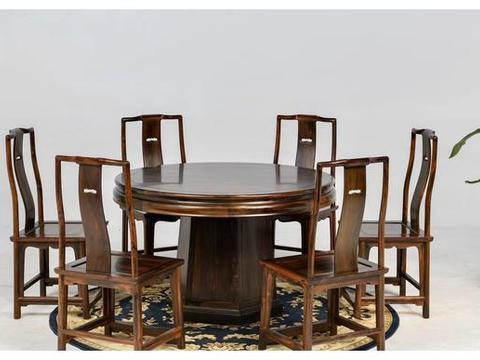 大红酸枝,明式圆餐桌,红木家具