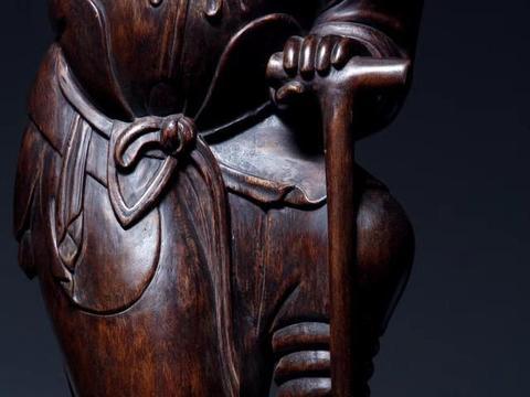 沉香木仿古,铁拐李,木雕文玩摆件