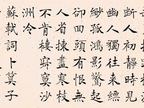 管峻2002年楷书苏轼卜算子黄州定慧院寓居作镜心