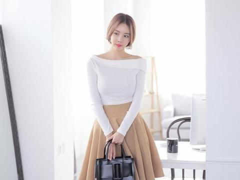 美女穿搭|一字肩连衣裙,修身版型设计理念,简约大方得体!