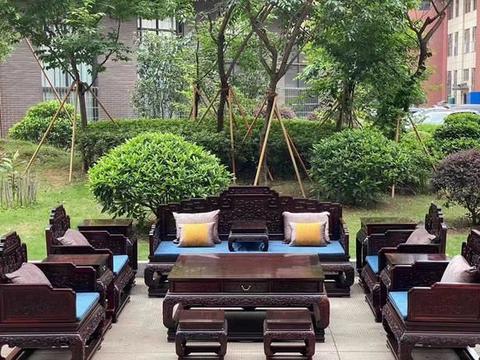 大红酸枝西番莲国宾款沙发生漆完效果图,红木家具