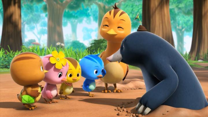 萌鸡小队:萌鸡的毽子掉地洞里了,需要地鼠帮忙找,要小点声哦