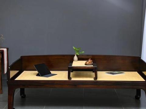 大红酸枝,如意卷珠足三围板罗汉床,明清红木家具