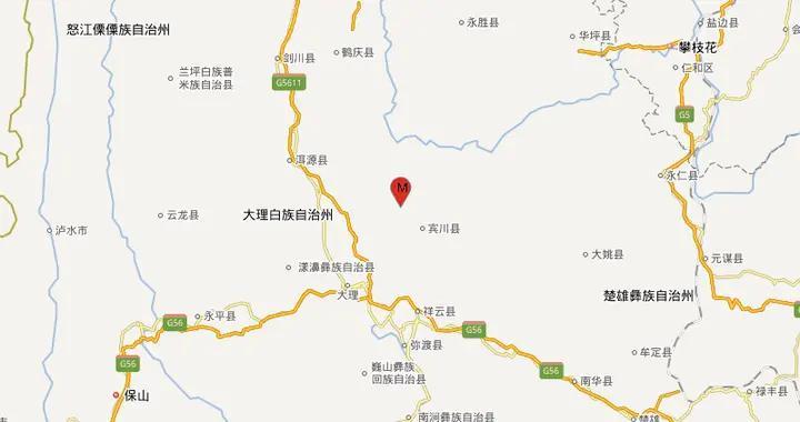 云南大理州宾川县发生3.0级地震
