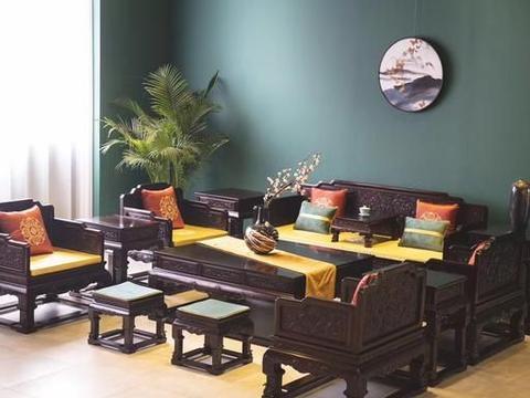 中式家装,赞比亚血檀,西番莲十三件套沙发