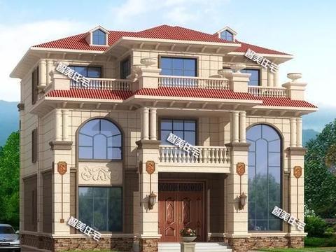 面宽尺寸均为13.8米的简欧别墅,客厅挑空,都带堂屋设计
