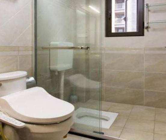 头一次见有人将蹲便器装在淋浴房,懊悔才察觉,实用又省空间