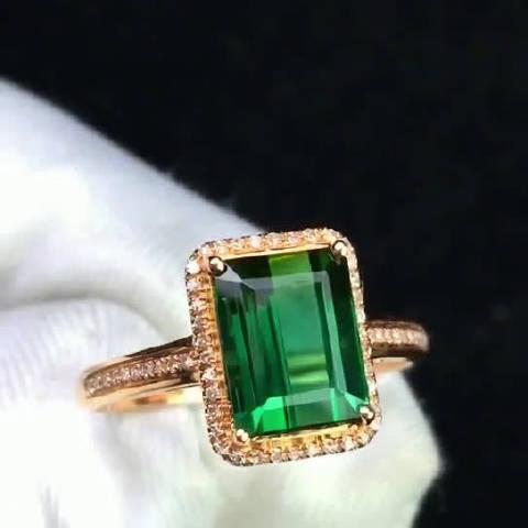 生机盎然绿碧玺戒指 精美玻璃体剔透晶莹 火彩爆满电光感十足 设