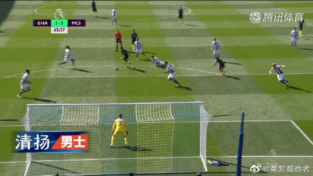 曼城客场4-1逆转布莱顿夺冠 阿圭罗破门京多安直接任意球