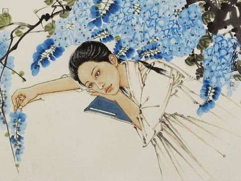 青年画家冯永强的女性人物国画,人物眉目秀美,身姿曼妙