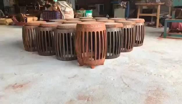 大红酸枝圆鼓凳