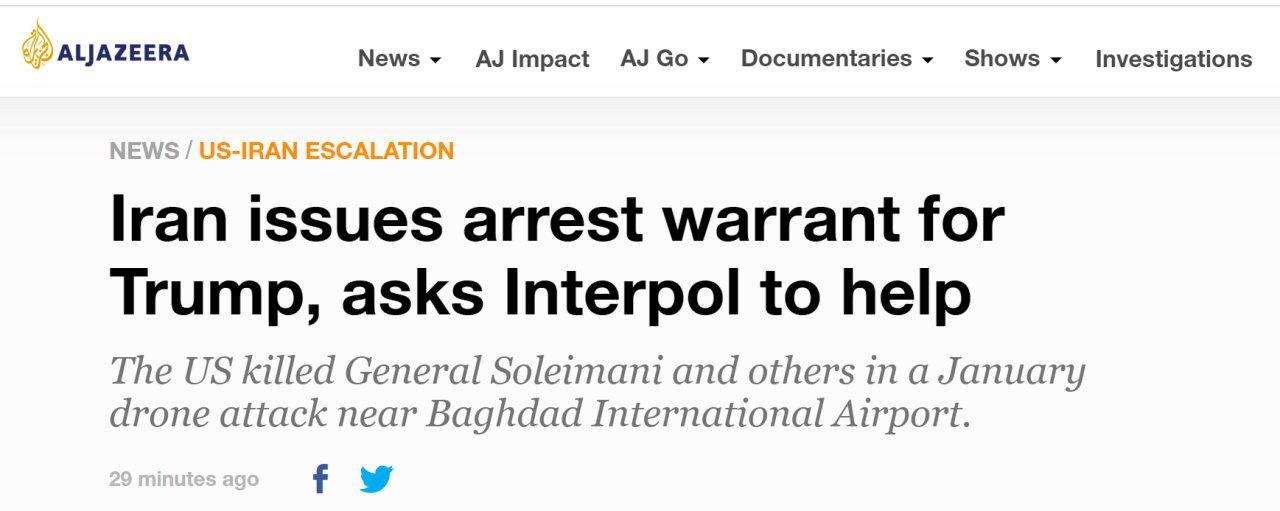 伊朗向特朗普发逮捕令