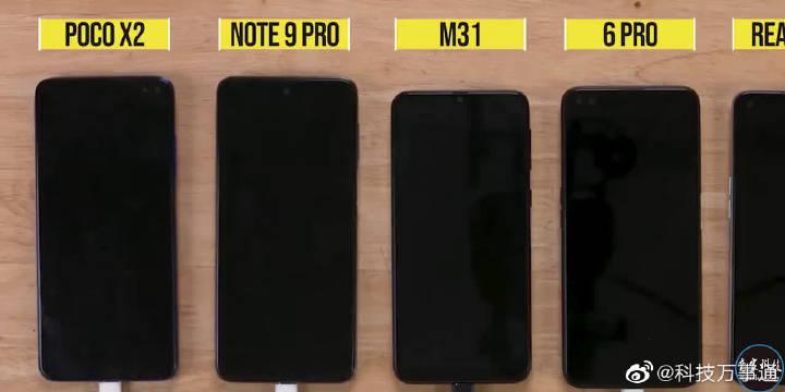 红米Note 9 Pro、三星M31、Realme 6 Pro充电对比