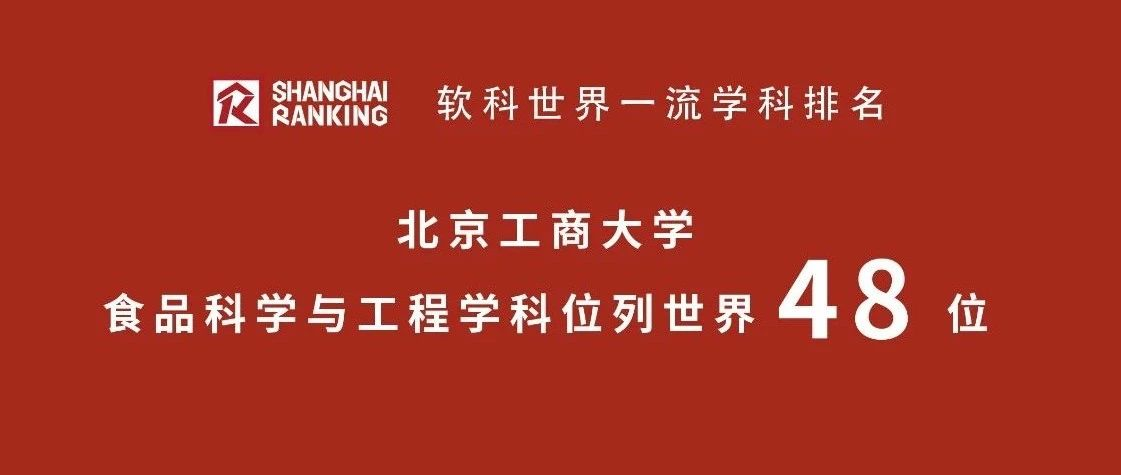 重磅!北京工商大学食品科学与工程学科位列全球第48、全国第10!