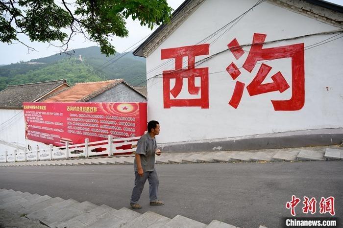 """6月28日凌晨1时31分,中国全国人大代表、""""共和国勋章""""获得者申纪兰在山西省长治市逝世。进西沟村必经之路有一棵大槐树,树的背后写着""""西沟""""两个大字。中新社记者 韦亮 摄"""