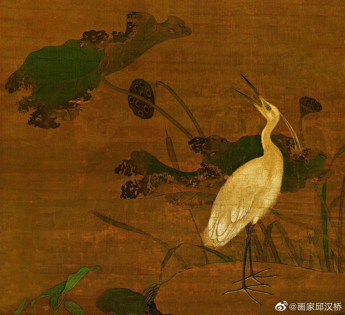《秋鹭芙蓉图》,明代,吕纪,绢本设色,纵192.6厘米,横111.9